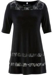 Удлиненная футболка с кружевом (лососевый) Bonprix