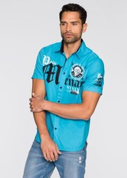 Рубашка Slim Fit с коротким рукавом (бирюзовый) Bonprix