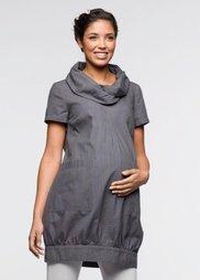 Мода для беременных: платье-баллон из биохлопка (шиферно-серый) Bonprix