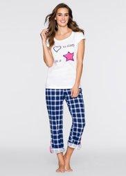 Пижама (белый с принтом/синий в клетку) Bonprix
