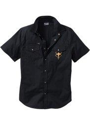 Рубашка Slim Fit с коротким рукавом (темно-оливковый) Bonprix