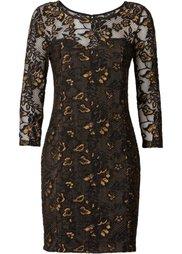 Кружевное платье (черный/цвет белой шерсти) Bonprix