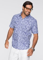 Рубашка Regular Fit с коротким рукавом (белый/синий с рисунком) Bonprix