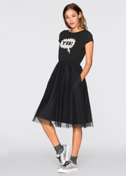 Трикотажное платье от Marcell von Berlin for bonprix (черный с аппликацией)
