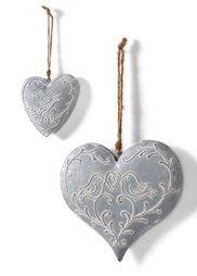 Фигурка Сердце (2 шт.) (серебристый) Bonprix