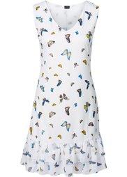 Платье с воланом (светло-коричневый с рисунком) Bonprix