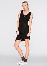 Трикотажное платье в резинку (черный) Bonprix
