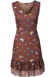 Платье с воланом (цвет белой шерсти с рисунком) Bonprix