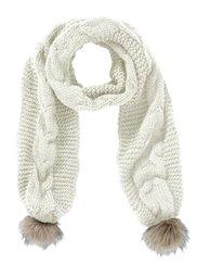 Вязаный шарф с помпонами (дымчато-розовый) Bonprix