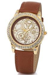 Часы со стразами и кожаным браслетом (черный) Bonprix