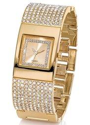 Сверкающие часы на металлическом браслете (серебристый) Bonprix