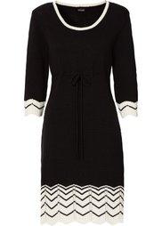 Вязаное платье (коричневый матовый/черны) Bonprix