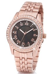 Часы на металлическом браслете со стразами (серебристый) Bonprix