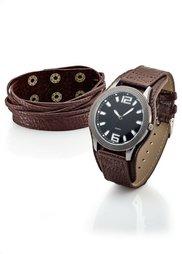 Набор из 2х изделий: кожаный браслет и часы на кожаном ремешке (черный) Bonprix
