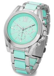 Шикарные часы на металлическом браслете (белый/золотистый) Bonprix
