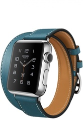 Apple Watch 38mm Stainless Steel Case Hermes Double Tour Leather Band Apple