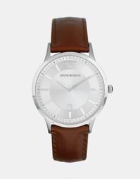 Наручные часы с кожаным ремешком коричневого цвета Emporio Armani AR24