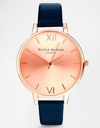 Часы с большим циферблатом и темно-синим ремешком Olivia Burton