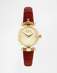 Часы с кожаным ремешком и орбитой-державой Vivienne Westwood VV090GDBR