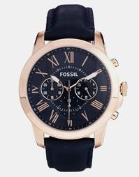 Часы на синем кожаном ремешке с хронографом Fossil Grant FS4835