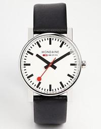 Большие кварцевые часы на кожаном ремешке Mondaine Evo - Черный