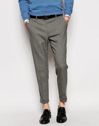 Укороченные брюки скинни в строгом стиле ASOS - Серый