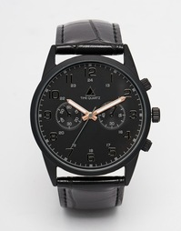 Черные часы со стрелками цвета розового золота ASOS - Черный