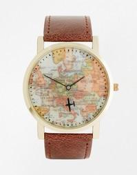 Часы с картой мира на циферблате ASOS - Коричневый