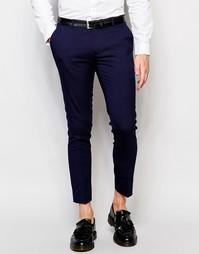 Укороченные супероблегающие брюки в строгом стиле ASOS - Темно-синий