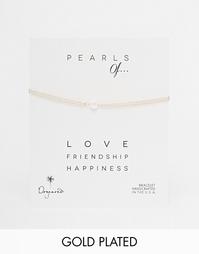 Позолоченный браслет с жемчужиной Dogeared Pearls Of Love - Золотой