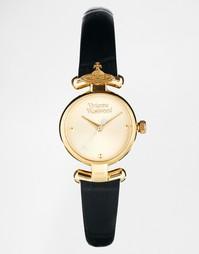 Часы с черным кожаным ремешком и орбитой-державой VV090GDBK Vivienne W