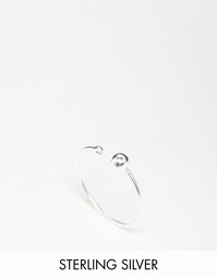 Незамкнутое серебряное кольцо с бусинкой ASOS - Серебряный