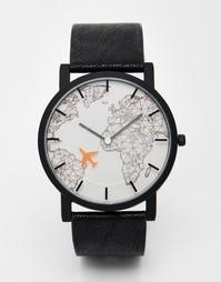 Часы с черным ремешком и движущимся самолетом ASOS - Черный