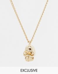 Ожерелье с черепом Chained & Able - Золотой