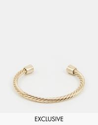 Перекрученный браслет-манжета Chained & Able - Золотой