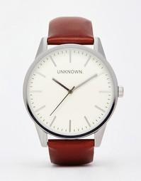 Классические часы с кожаным ремешком UNKNOWN - Коричневый