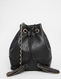 Сумка на шнурке с кисточками Yoki Fashion - Черный