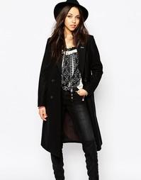 Удлиненное шерстяное пальто Maison Scotch - Черный