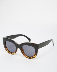 Солнцезащитные очки кошачий глаз в массивной оправе ASOS - Черепаховый