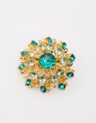 Украшенная камнями брошь в виде цветка ASOS - Зеленый