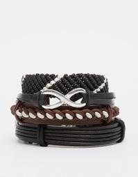 Набор черных кожаных браслетов ASOS - Черный
