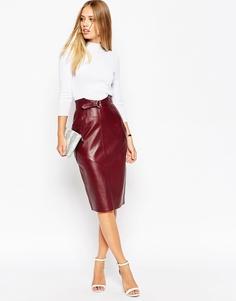 Кожаная юбка-карандаш в стиле милитари с ремнем и D-кольцом ASOS