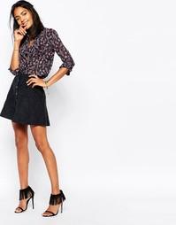 Замшевая юбка-трапеция в стиле 70-х Abercrombie & Fitch - Черный