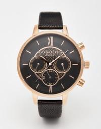 Большие часы‑хронограф Olivia Burton - Черный и золотой