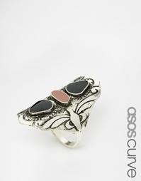 Кольцо с камнями ASOS CURVE Nomad - Шлифованный серебряный