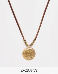 Кожаное ожерелье с металлическим диском Reclaimed Vintage - Коричневый
