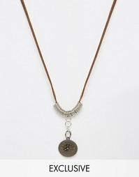 Кожаное ожерелье с часами Reclaimed Vintage - Коричневый