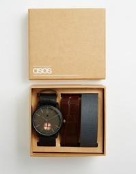 Часы с тремя сменными ремешками ASOS - Черный