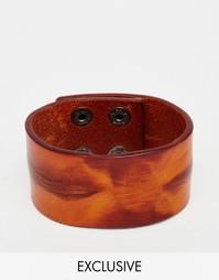 Широкий кожаный браслет Reclaimed Vintage - Коричневый