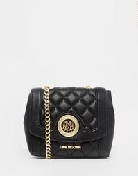 Черная стеганая сумка с цепочкой на плечо Love Moschino - 000 черный